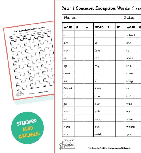 year 1 common exception word checklist