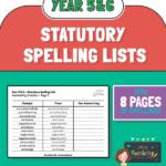 year 5 and 6 statutory spelling handwriting sheets