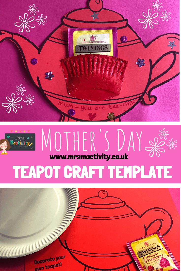 Mother's Day teapot craft template