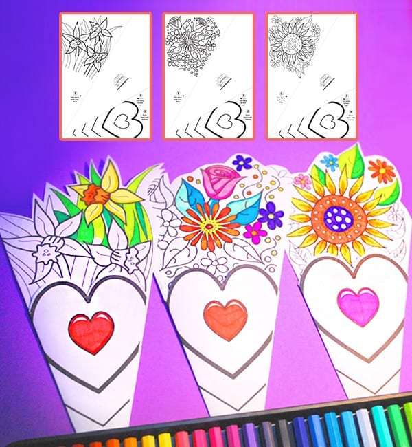 Mother's Day Flower Colouring Craft - Larger Version