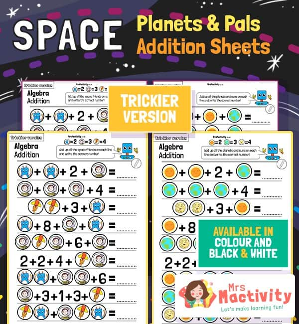 Space and Planets Addition Worksheets - Trickier Version