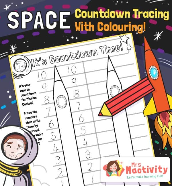 Space Rocket Number Countdown Activity