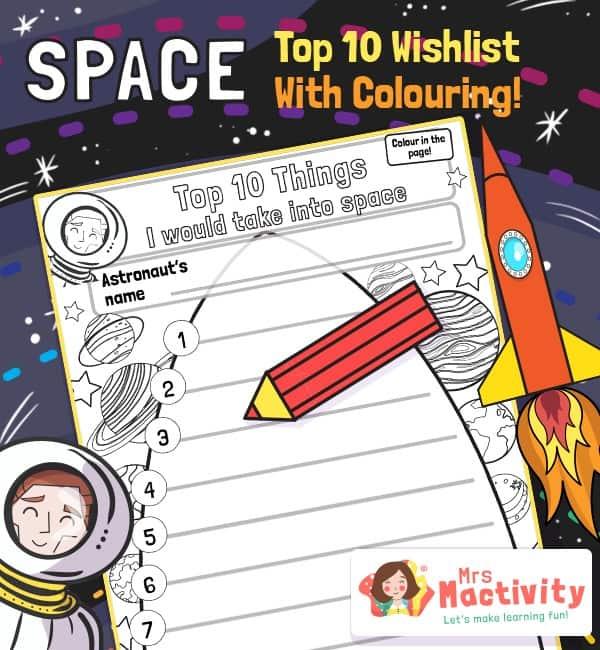 Space Rocket Wishlist Writing Activity