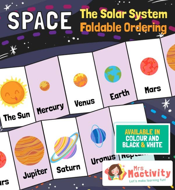 Space and The Solar System Ordering Activity Craft