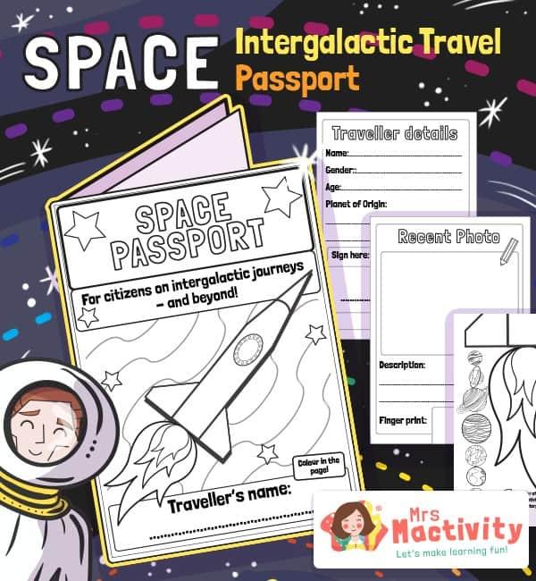 Space Intergalactic Traveller Passport Activity