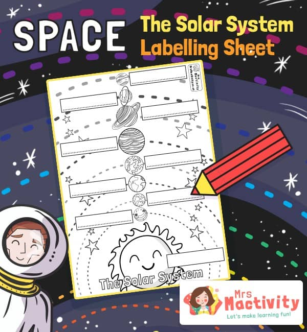 Space and The Solar System Labelling Worksheet