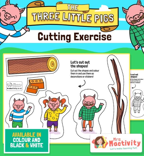 Three Little Pigs Cutting Skills Activity