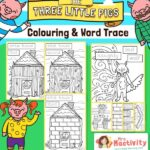Three Little Pigs Colouring Pages and Word Trace