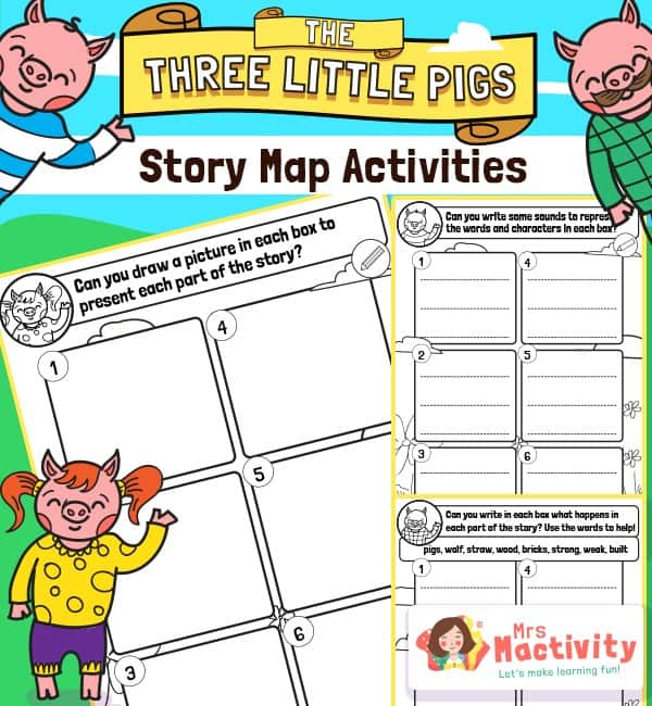 three little pigs story map worksheet