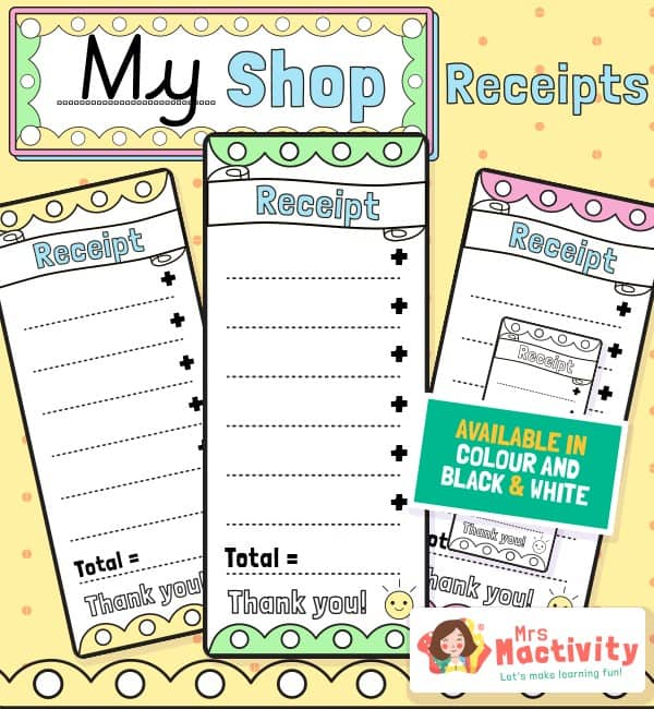 Shop Role-Play Receipt Templates