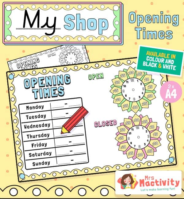 Shop Role-Play Opening Times Posters