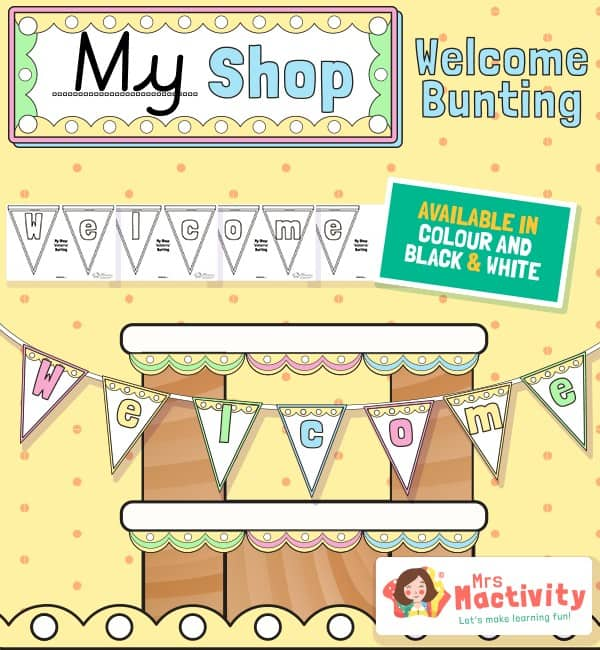Shop Role-Play Welcome Display Bunting