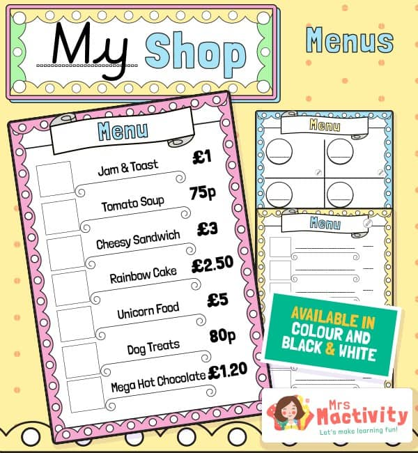 Shop and Cafe Role-Play Menu Template