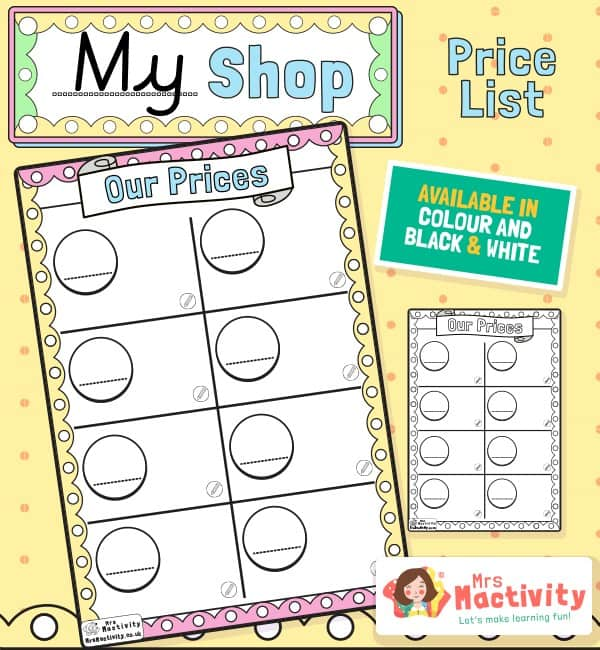 Shop Role-Play Price Lists Template