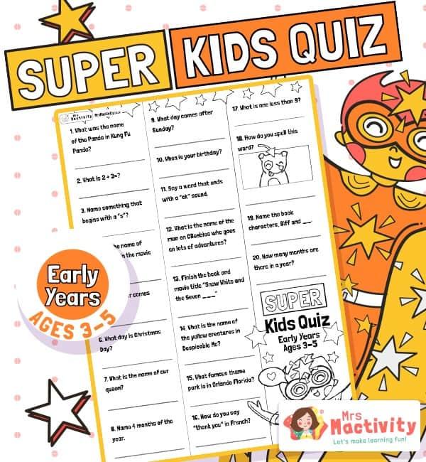 Age 3-5 (EYFS) Kids' Quiz
