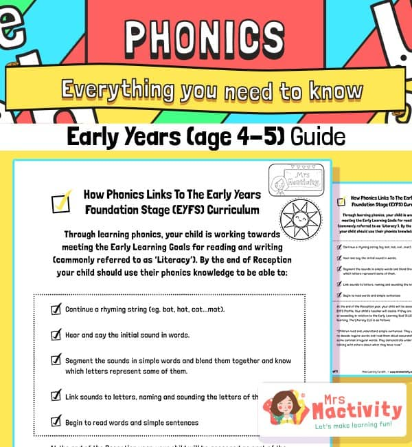 Early Years (Age 4-5) Phonics Information Guide for Parents