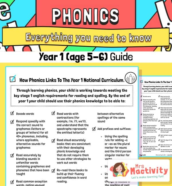 Year 1 Phonics Information Guide for Parents