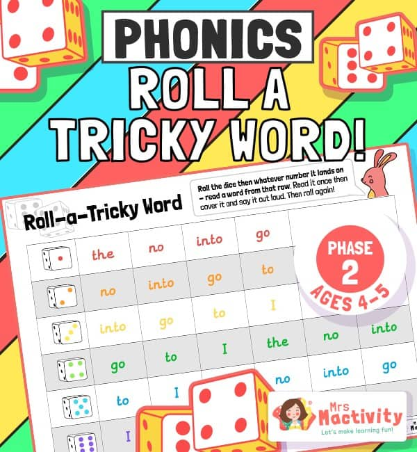 Phase 2 Phonics (Age 4-5) Roll a Tricky Word Activity