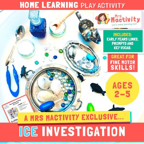 Aged 2-5 Home Learning Ice Investigation Play Activity