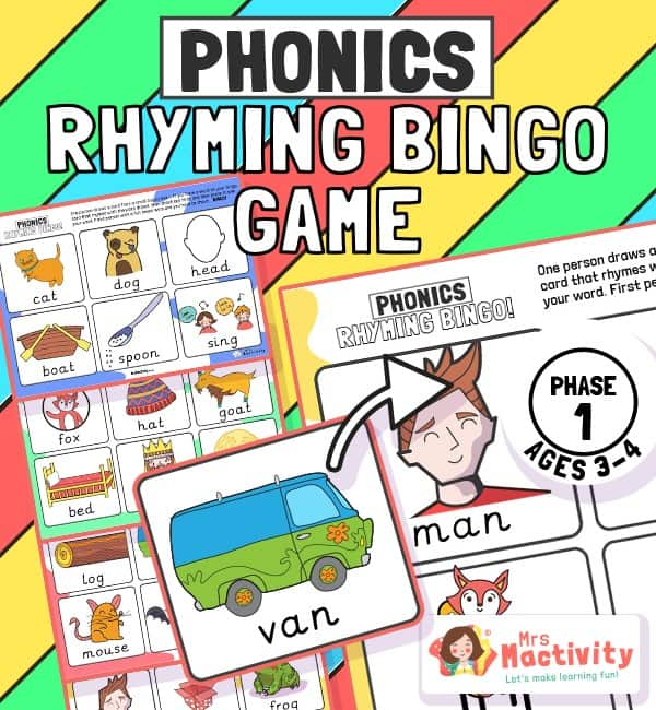 Phase 1 Phonics Rhyming Bingo Game