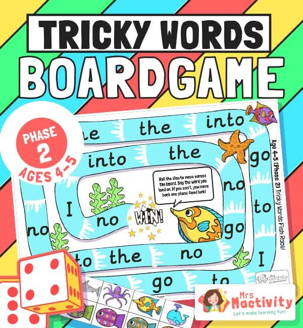 Phase 2 Tricky Words Board Game