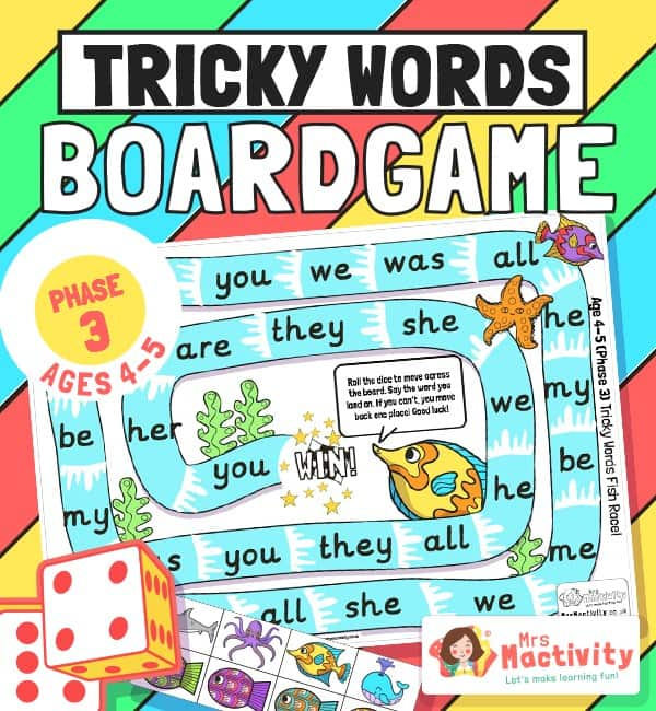 Phase 3 Tricky Words Board Game