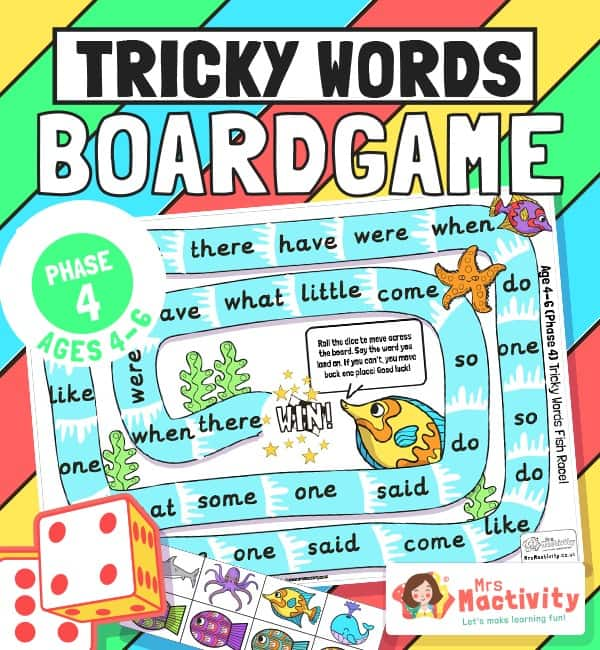 Phase 4 tricky words board game