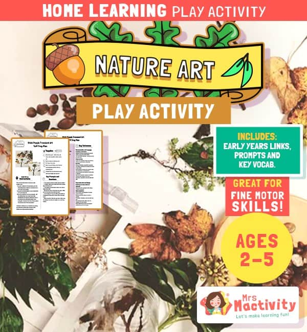 Aged 2-5 Home Nature Art Play Activity