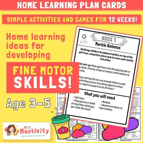 Home Learning Fine Motor Skills Activities