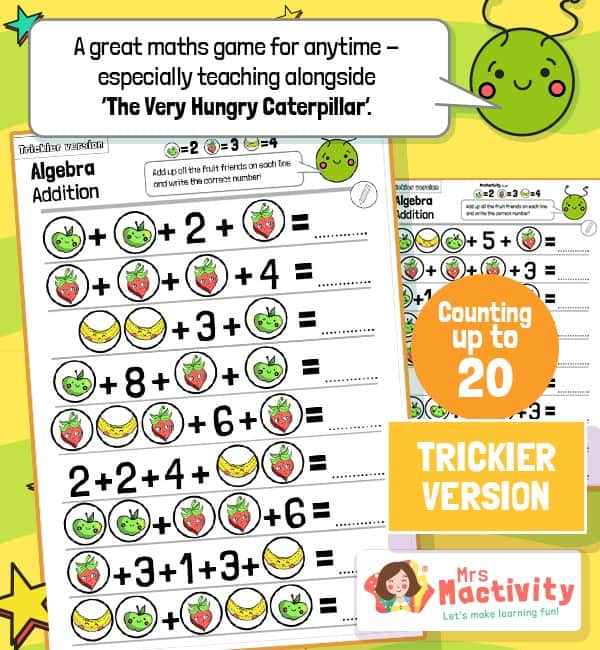 Very Hungry Caterpillar Maths Fruit Addition Worksheets - trickier Version