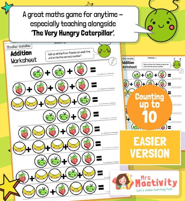 Very Hungry Caterpillar Maths Fruit Addition Worksheets - Easier Version