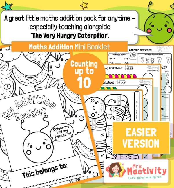 Very Hungry Caterpillar Maths Addition Mini Booklet - Easier Version