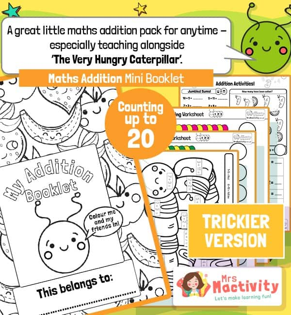 Very Hungry Caterpillar Maths Addition Mini Booklet - trickier version