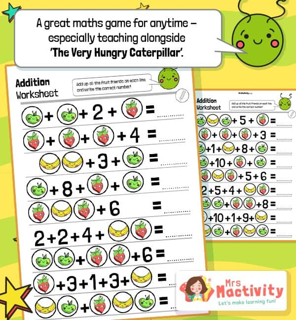 Very Hungry Caterpillar Fruit Addition Worksheets