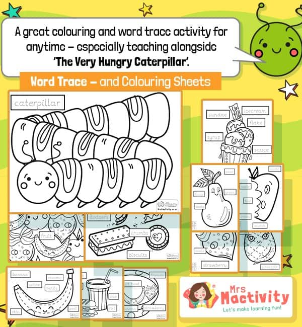 Very Hungry Caterpillar Colouring Sheets With Word Trace