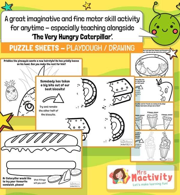 Very hungry caterpillar playdough and puzzle mats
