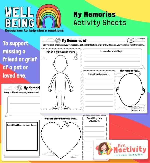 Pupil Wellbeing - My Memories Activity Sheets