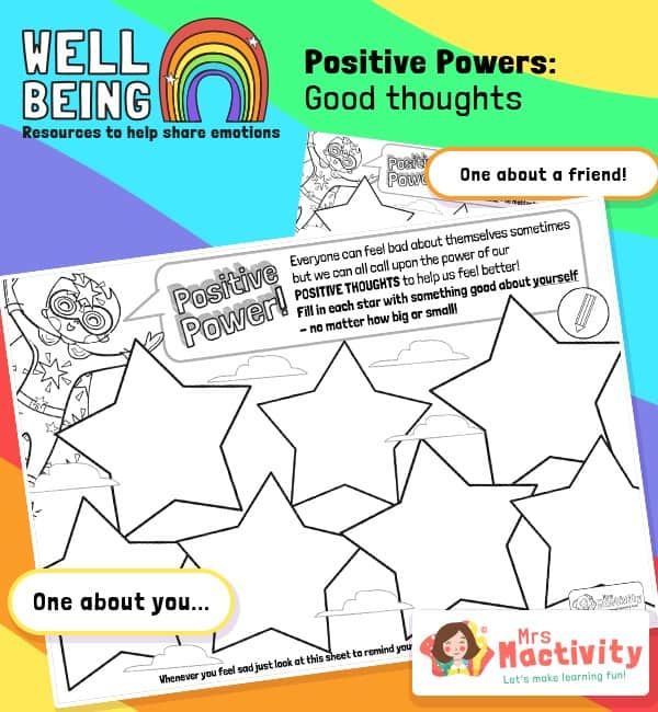 Pupil Wellbeing - Positive Thoughts Star Activity Sheet