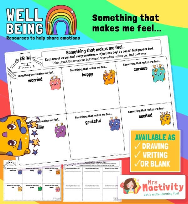 Pupil Wellbeing - Something That Makes me Feel Activity Sheet