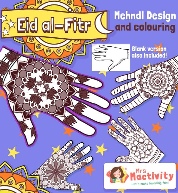 Eid Mehndi Pattern Colouring Activity