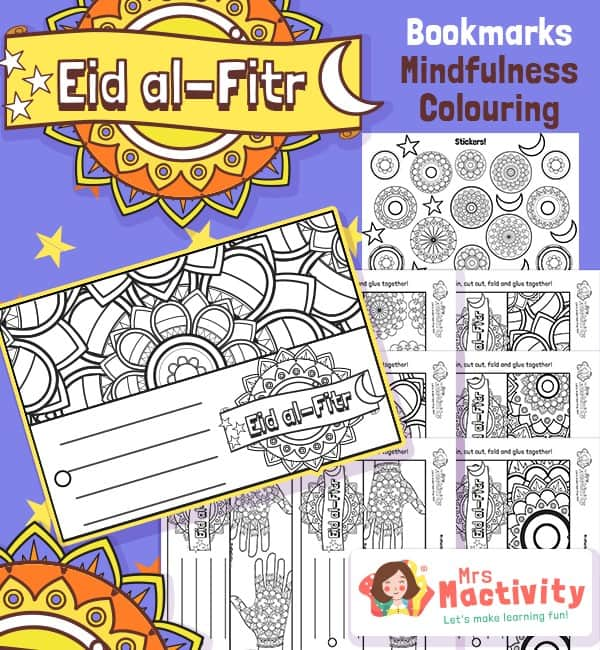 Eid and Ramadan Mindfulness Colouring Bookmarks