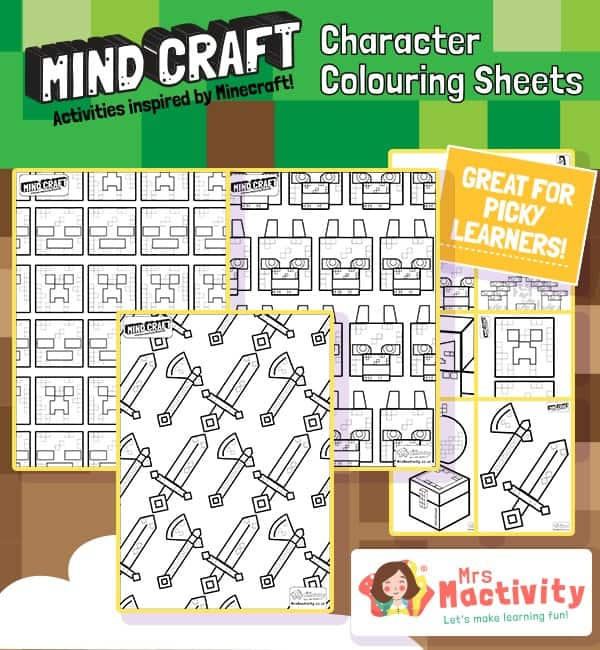 Mind-Craft Colouring Sheets
