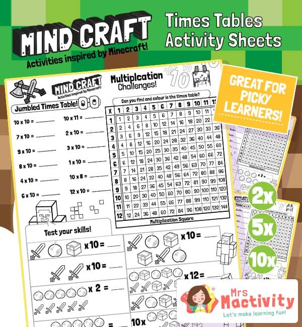 Minecraft times table activity book