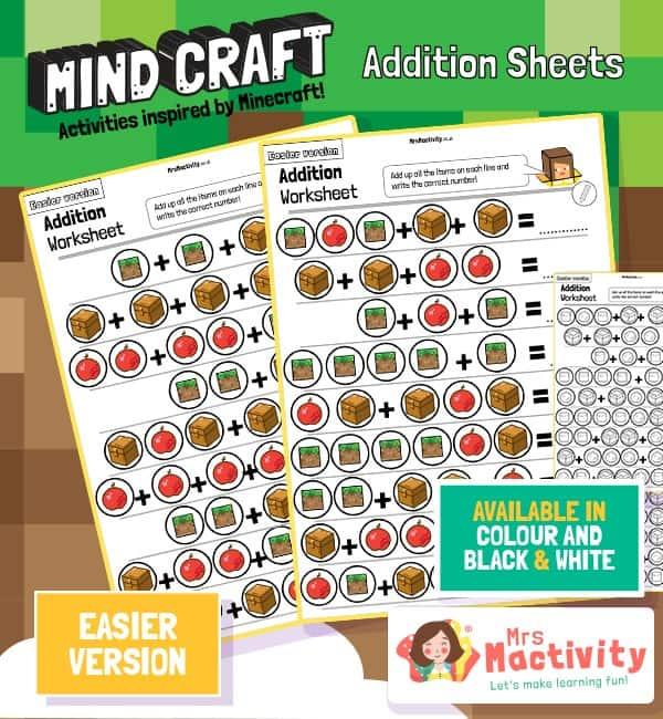 Mind Craft Addition Sheets - Easier