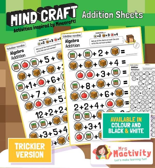 Mind Craft Addition Sheets - Trickier