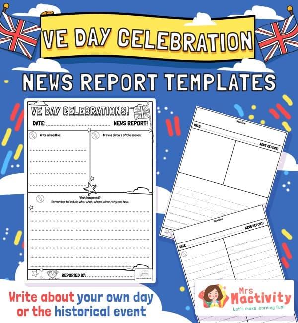 VE Day Celebration Newspaper Report Template