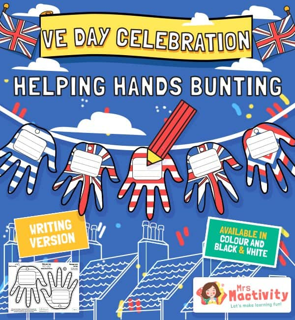 VE Day Celebration Helping Hands Bunting - Writing Version