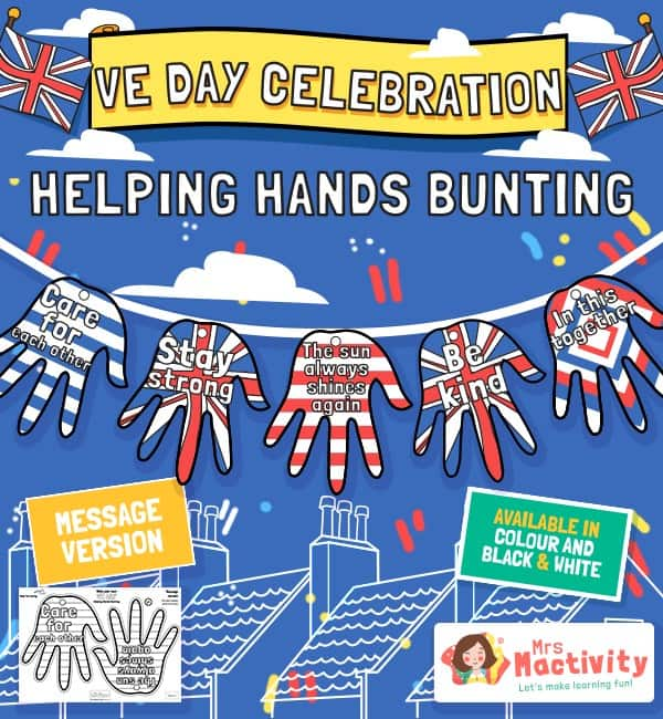 VE Day Celebration Helping Hands Bunting
