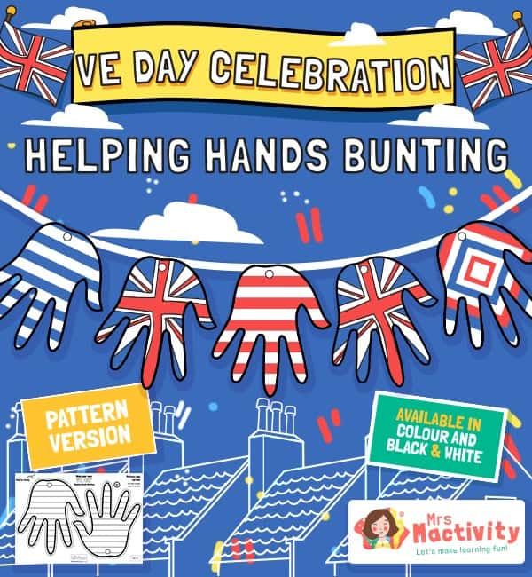 VE Day Celebration Helping Hands Bunting - Plain