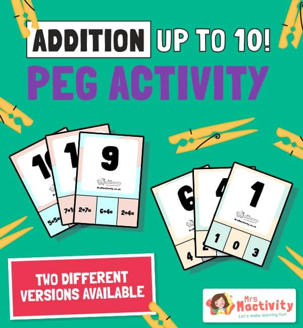 Addition up to 10 Peg Activity